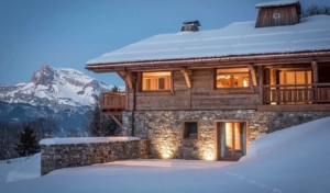 Four snow-covered ski chalets perfect for Christmas