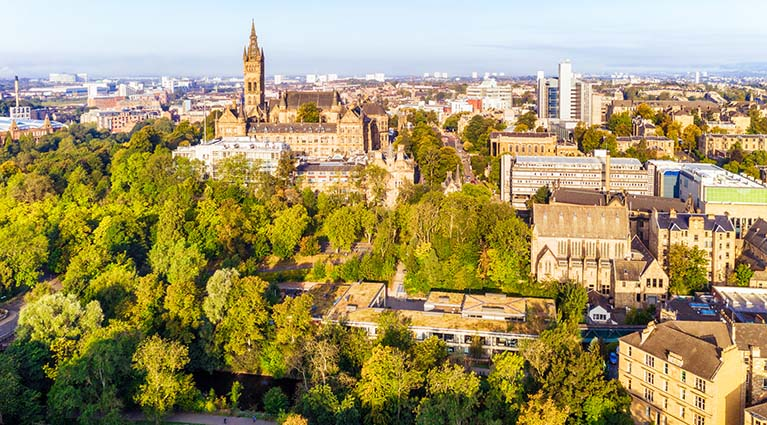 An aerial view of part of Glasgow's West End
