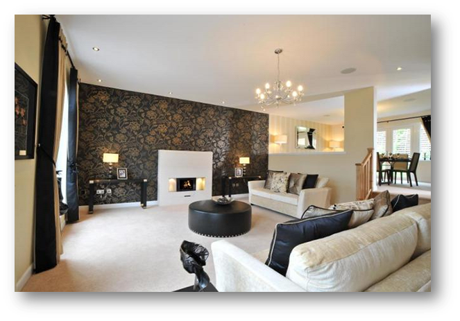 Home ideas feature wall ideas property blog for Wallpaper lounge feature wall