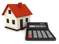 A house with a mortgage repayment calculator